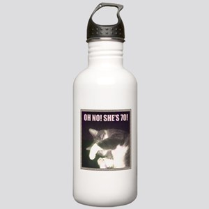 Funny 70th Birthday (Cat) Stainless Water Bottle 1