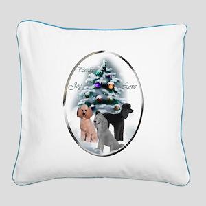 Poodle Christmas Square Canvas Pillow