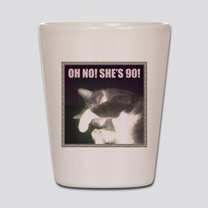 Funny 90th Birthday (Cat) Shot Glass