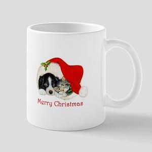 Christmas Border Collie puppy and kitten Mug
