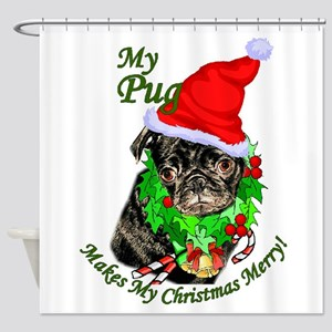 Pug Christmas Shower Curtain