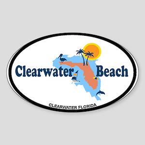 Clearwater FL - Map Design. Sticker (Oval)