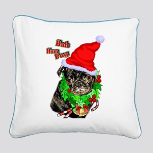 Pug Christmas Square Canvas Pillow