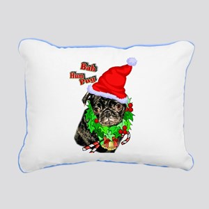 Pug Christmas Rectangular Canvas Pillow