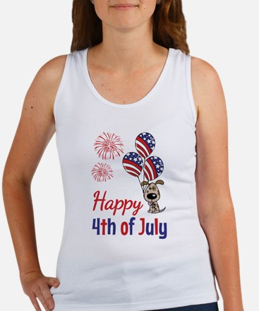 Happy 4th Doggy with Balloons Tank Top