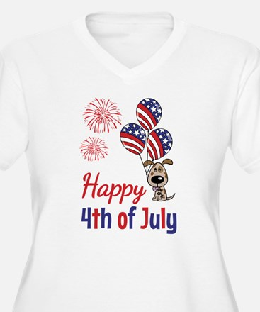 Happy 4th Doggy with Balloons Plus Size T-Shirt