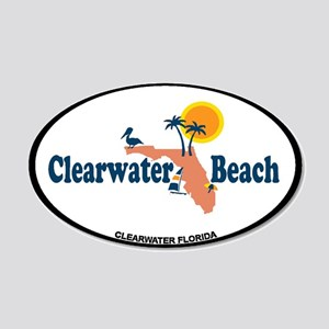 Clearwater FL - Map Design. 20x12 Oval Wall Decal