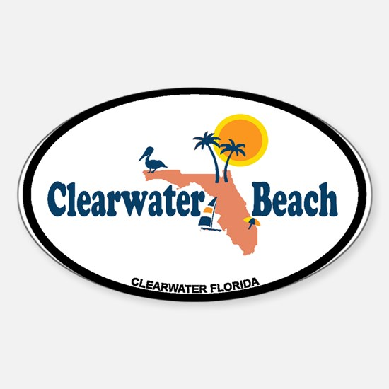 Clearwater FL - Map Design. Sticker (Oval)