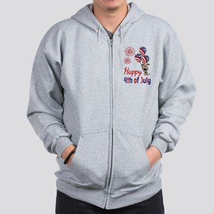 Happy 4th Doggy with Balloons Zip Hoodie