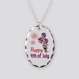Happy 4th Doggy with Balloons Necklace