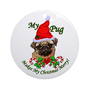 pug christmas ornaments cafepress