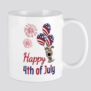 Happy 4th Doggy with Balloons Mug