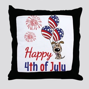 Happy 4th Doggy with Balloons Throw Pillow