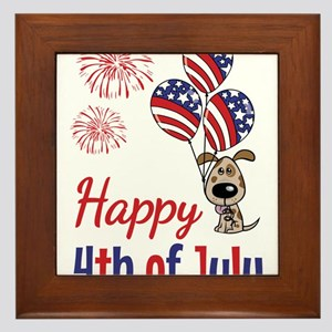 Happy 4th Doggy with Balloons Framed Tile