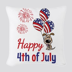 Happy 4th Doggy with Balloons Woven Throw Pillow