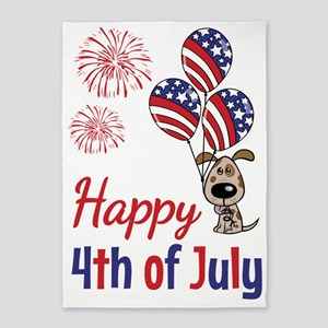 Happy 4th Doggy with Balloons 5'x7'Area Rug
