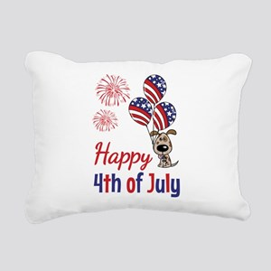 Happy 4th Doggy with Balloons Rectangular Canvas P