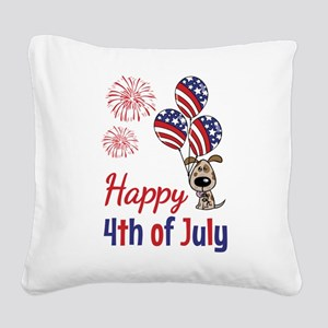 Happy 4th Doggy with Balloons Square Canvas Pillow