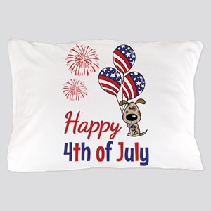 Happy 4th Doggy with Balloons Pillow Case