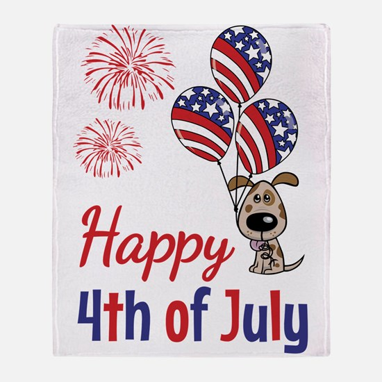 Happy 4th Doggy with Balloons Throw Blanket