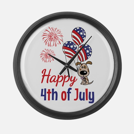 Happy 4th Doggy with Balloons Large Wall Clock
