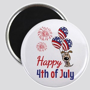 Happy 4th Doggy with Balloons Magnet