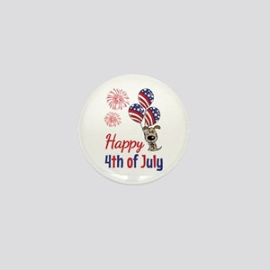 Happy 4th Doggy with Balloons Mini Button