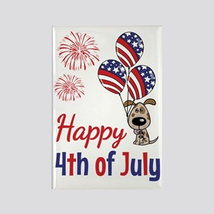 Happy 4th Doggy with Balloons Rectangle Magnet