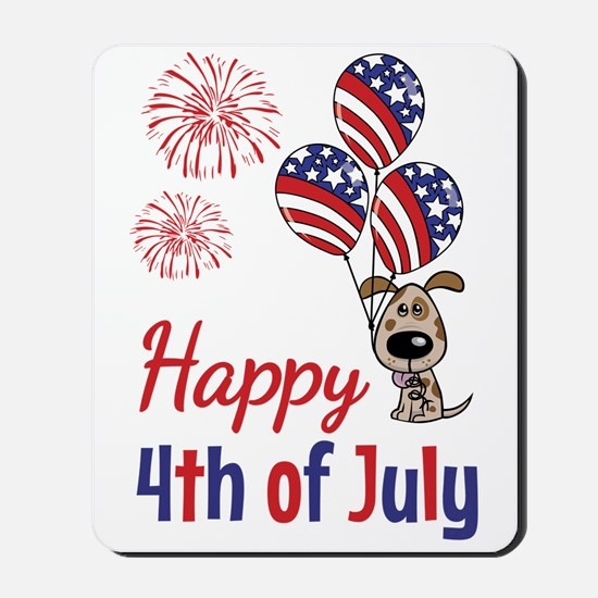 Happy 4th Doggy with Balloons Mousepad