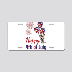 Happy 4th Doggy with Balloons Aluminum License Pla