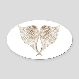 Golden Angel Oval Car Magnet