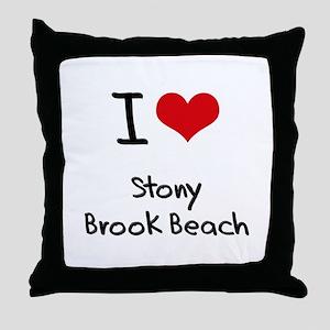 I Love STONY BROOK BEACH Throw Pillow