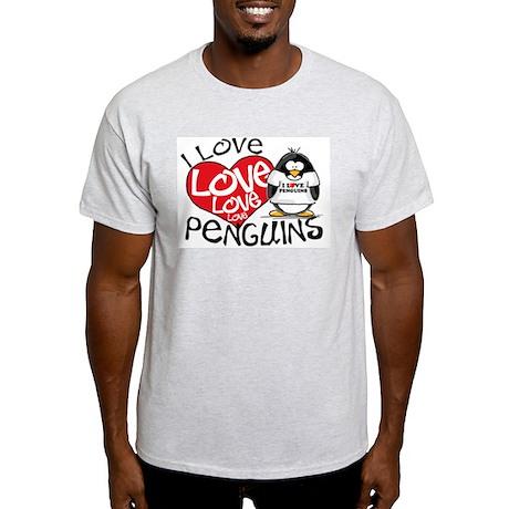 I Love Love Love Penguins Ash Grey T-Shirt
