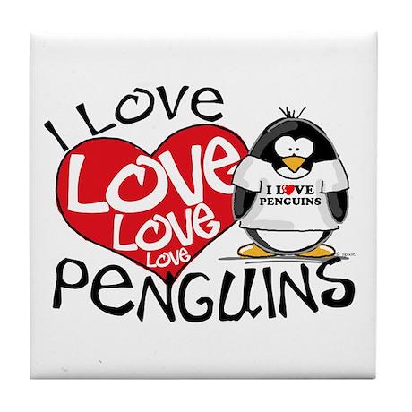 I Love Love Love Penguins Tile Coaster