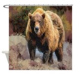 Camo Grizzly Bear Shower Curtain