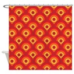 Orange Retro Circles Shower Curtain
