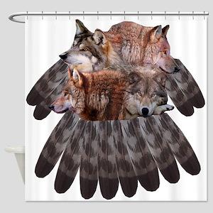 4 Wolves Dreamcatcher Shower Curtain
