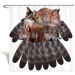 4 Wolves Dreamcatcher Shower Curtain