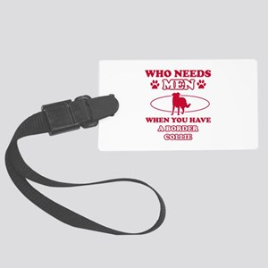 Border Collie mommy designs Large Luggage Tag