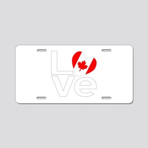 White Canadian LOVE Aluminum License Plate