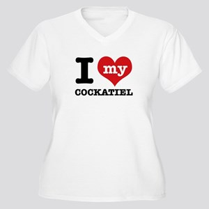 I love my Cockatiel Women's Plus Size V-Neck T-Shi