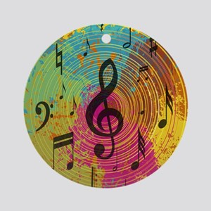 Bright Music notes on explosion of colour Ornament