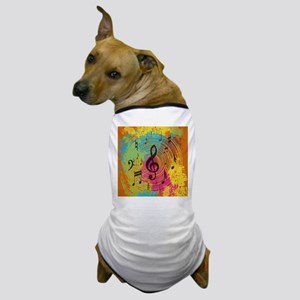 Bright Music notes on explosion of colour Dog T-Sh