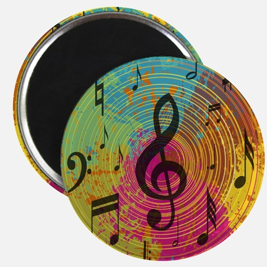 Bright Music notes on explosion of colour Magnet