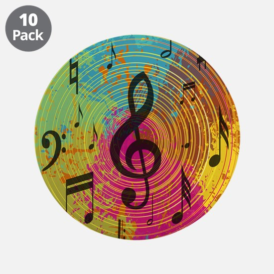 """Bright Music notes on explosion of colour 3.5"""" But"""