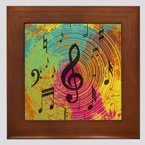 Bright Music notes on explosion of colour Framed T