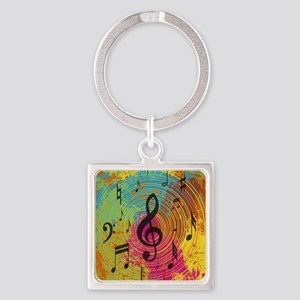 Bright Music notes on explosion of colour Keychain