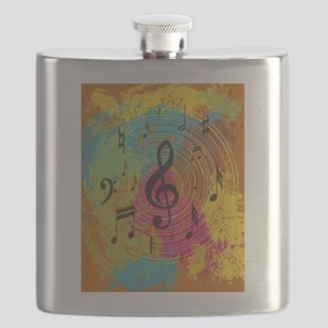 Bright Music notes on explosion of colour Flask