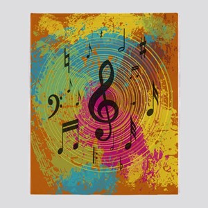 Bright Music notes on explosion of colour Throw Bl