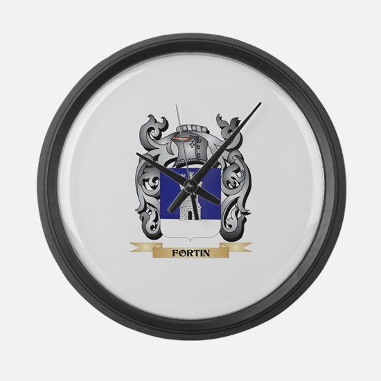 Fortin Coat of Arms - Family Cres Large Wall Clock